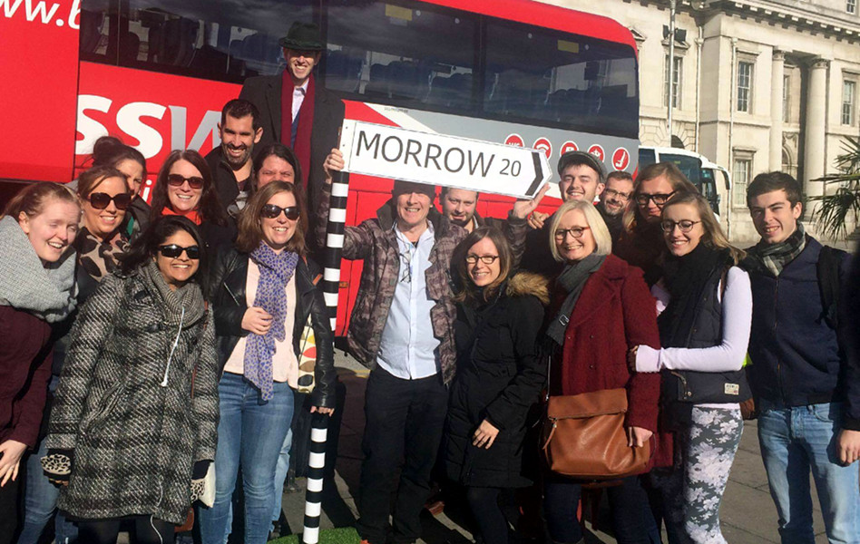 Derry 2016 bus group with Morrow sign